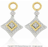 14k Two Tone Gold Braided 1/4  Carat Diamond Earring Charms